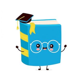 Lindo libro sonriente feliz en la tapa de graduación. diseño de ilustración de personaje de dibujos animados plano. aislado sobre fondo blanco. libro, concepto educativo