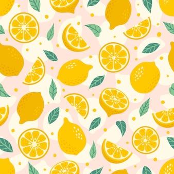 Lindo limón dibujado a mano de patrones sin fisuras. rebanada de fruta de verano de dibujos animados.