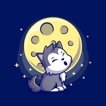 Lindo lobo rugido con personaje de dibujos animados de luna. naturaleza animal aislada.