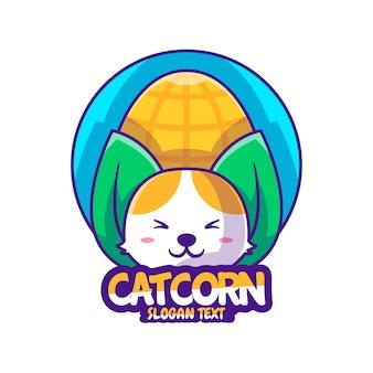 Lindo logo dibujos animados gato maíz ilustración vectorial