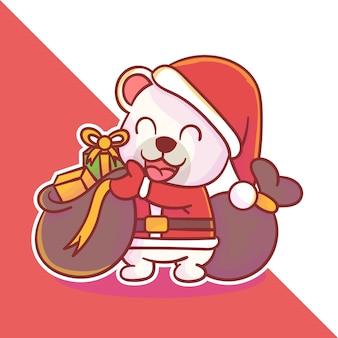 Lindo logo de mascota de navidad polar