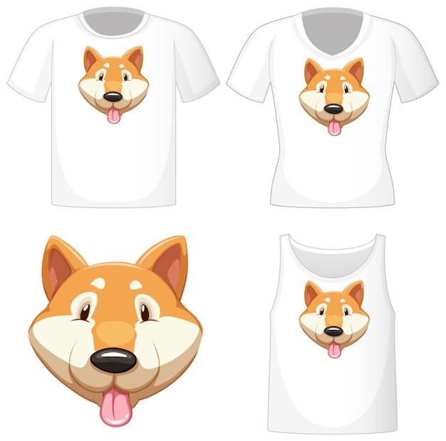 Lindo logo de perro shiba en diferentes camisas blancas aisladas sobre fondo blanco