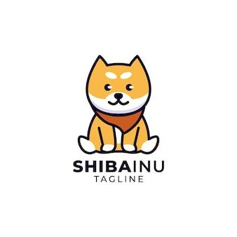 Lindo logo de perro shiba inu