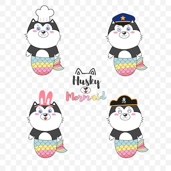Lindo logo de sirena husky para tienda de niños