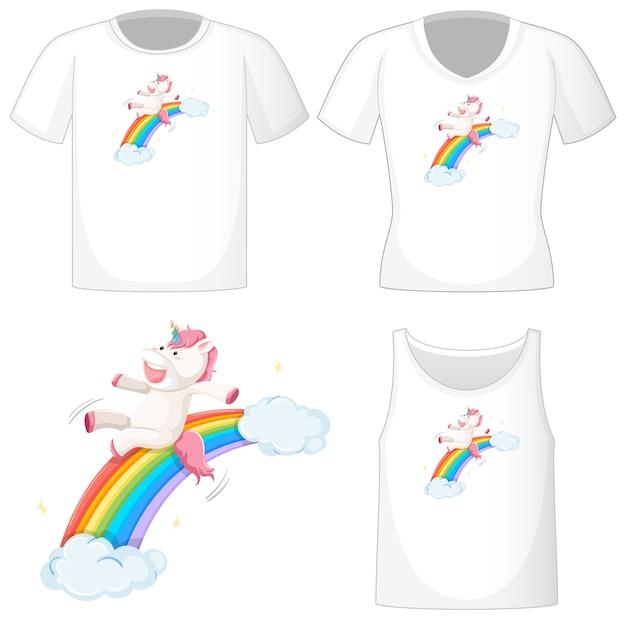 Lindo logo de unicornio en diferentes camisas blancas aisladas sobre fondo blanco
