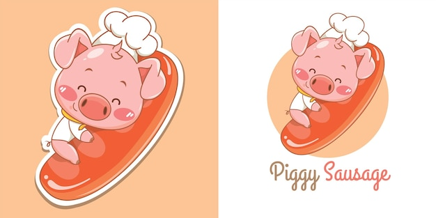 Lindo logotipo de mascota de chef de cerdo abrazando salchicha