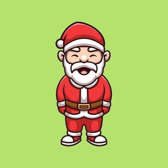 Lindo logotipo de mascota de dibujos animados de navidad creativa de santa