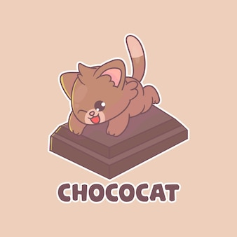 Lindo logotipo de mascota de gato de chocolate