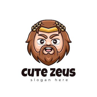 Lindo logotipo de la mascota de kawaii de dibujos animados creativos de zeus