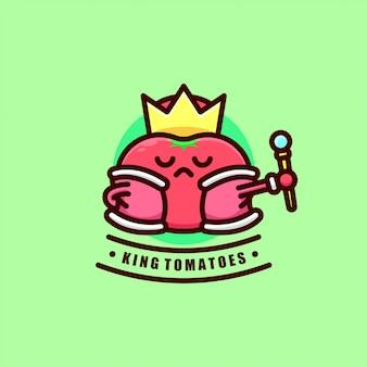 Lindo logotipo de tomates rojos con corona de rey y túnica roja