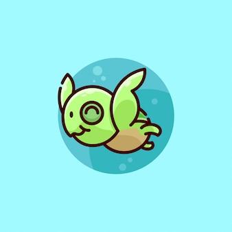 Lindo logotipo de tortuga bebé verde