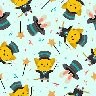 Lindo, mago, gato, caricatura, seamless, patrón, con, conejo, en, el, sombrero