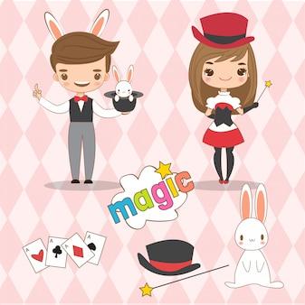 Lindo mago y su asistente de dibujos animados.