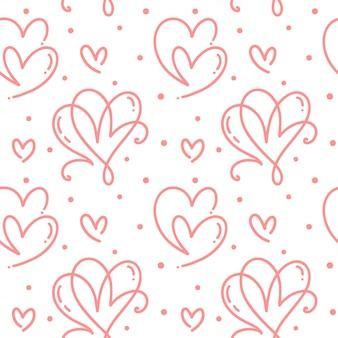 Lindo mano dibujada corazones de patrones sin fisuras