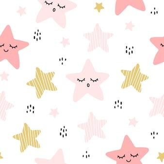 Lindo mano dibujada estrella de patrones sin fisuras