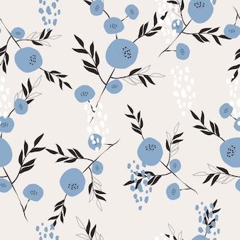Lindo mano dibujada floral superficie de patrones sin fisuras