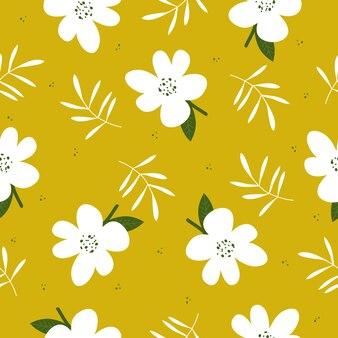 Lindo mano dibujado vintage floral de fondo sin fisuras