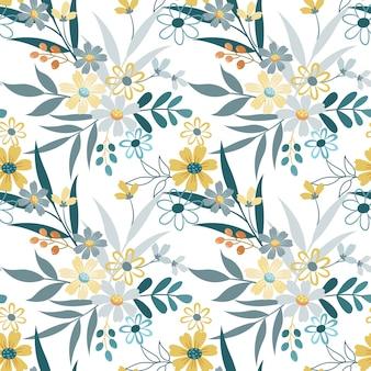 Lindo mano dibujar flores de patrones sin fisuras
