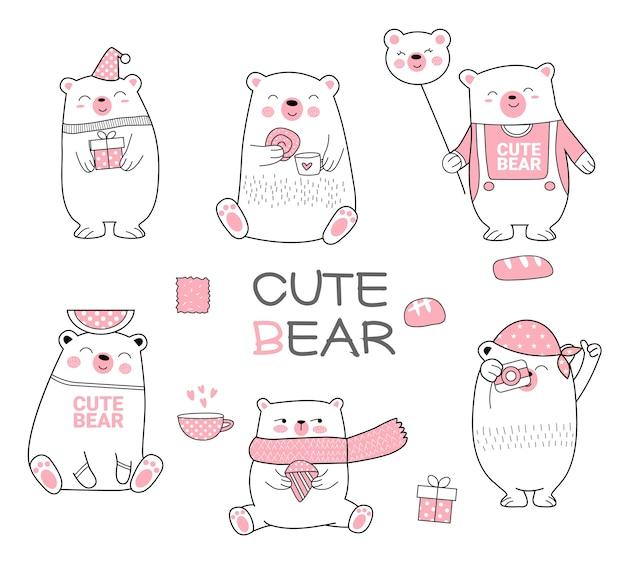 Lindo mano de dibujos animados oso dibujado estilo