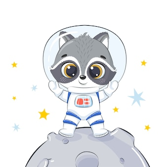 Lindo mapache astronauta de pie en la luna.