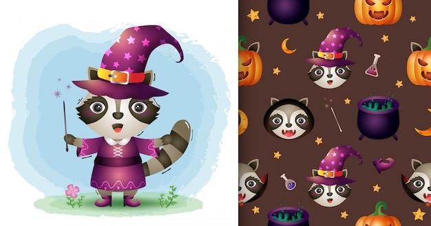 Un lindo mapache con la colección de personajes de halloween de disfraces. diseños de patrones e ilustraciones sin costuras