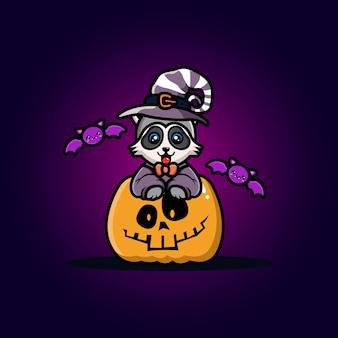 Lindo mapache con dibujos animados de calabaza de halloween