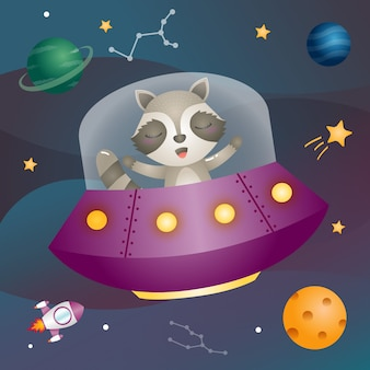 Un lindo mapache en la galaxia espacial.