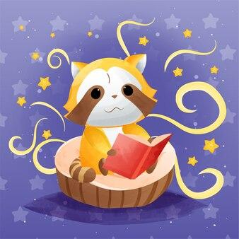 Lindo mapache leyendo una ilustración de dibujos animados de libros