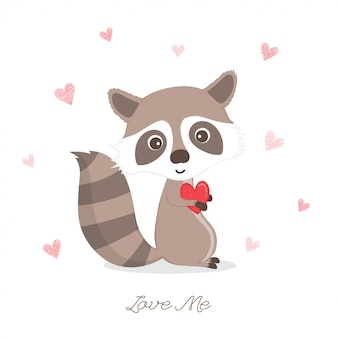 Lindo mapache sosteniendo corazon