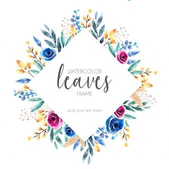 Lindo marco de acuarela con hojas azules