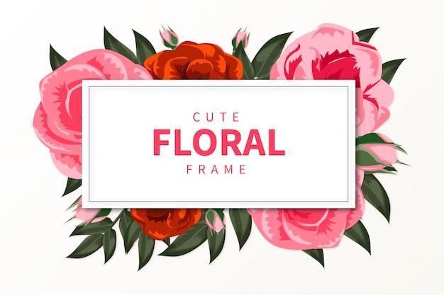 Lindo marco de flores con flores dibujadas a mano realistas