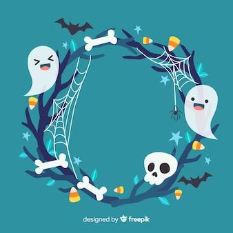 Lindo marco de halloween con fantasmas