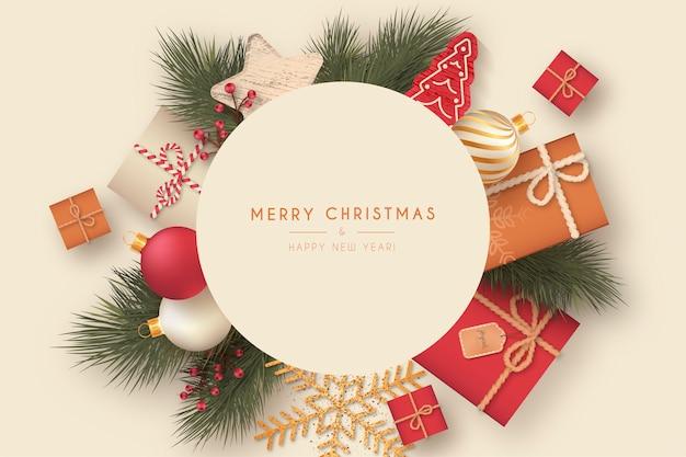 Lindo marco navideño con elementos decorativos