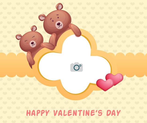 Lindo marco y pareja de osos para el día de san valentín