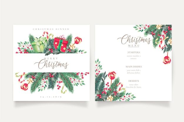 Lindo menú de navidad y plantilla de tarjeta