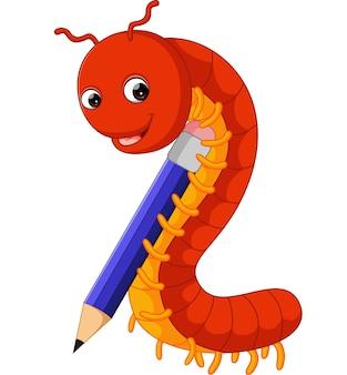 Lindo milpiés sosteniendo un lápiz