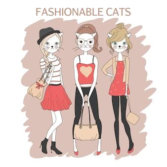 Lindo, moda, niñas, gatos, coloreado, vector, ilustración
