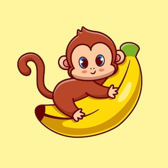 Lindo mono abrazo plátano