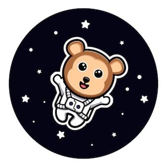 Lindo mono astronauta flotando en la mascota de dibujos animados espacial