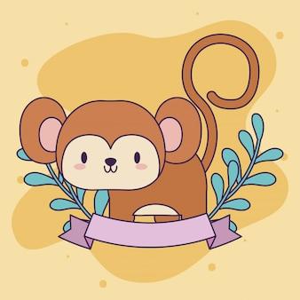 Lindo mono bebé animal kawaii con decoración