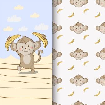 Lindo mono dibujado a mano ilustración y patrones sin fisuras