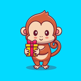 Lindo mono con dibujos animados de regalo