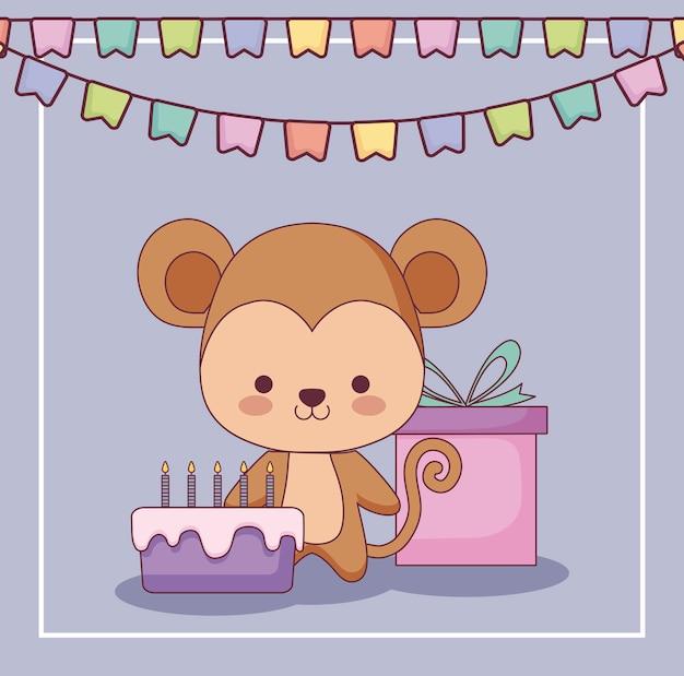 Lindo mono feliz cumpleaños tarjeta regalo y conjunto de iconos