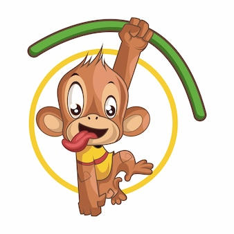 Lindo mono juguetón colgando de la rama