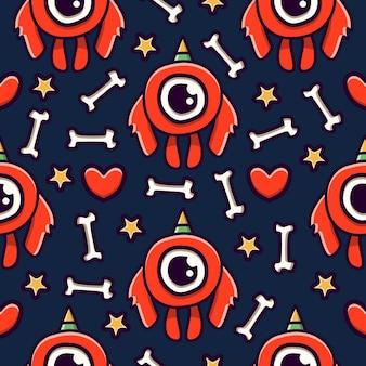 Lindo, monstruo, caricatura, garabato, seamless, patrón, diseño