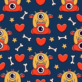 Lindo monstruo de dibujos animados doodle diseño de patrones sin fisuras