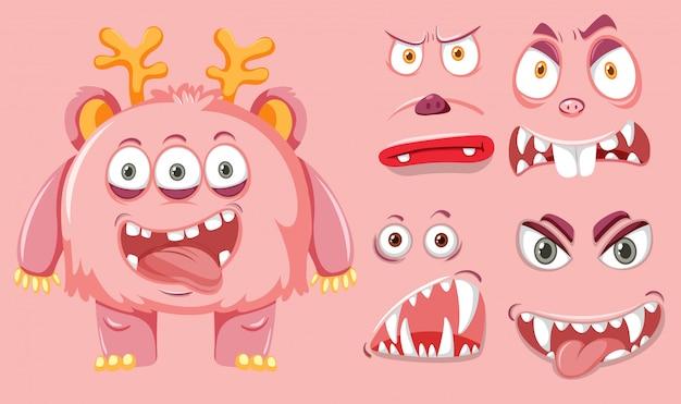 Un lindo monstruo facial expreso