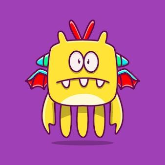 Lindo monstruo personaje doodle ilustración