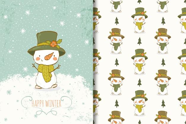 Lindo muñeco de nieve dibujado a mano ilustración. tarjeta y patrón sin costuras