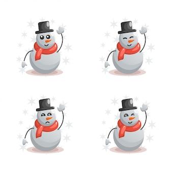 Lindo muñeco de nieve con expresiones